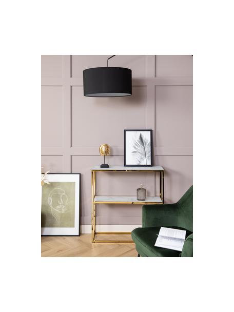 Metalen wandrek Aruba in marmerlook, Tafelblad: glas, Frame: gefolieerd metaal, Wit, goudkleurig, 80 x 81 cm