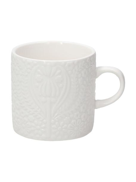 Tassen Ornament aus Porzellan mit Ornament-Relief, 2 Stück, Porzellan, Weiß, Ø 8 x H 8 cm