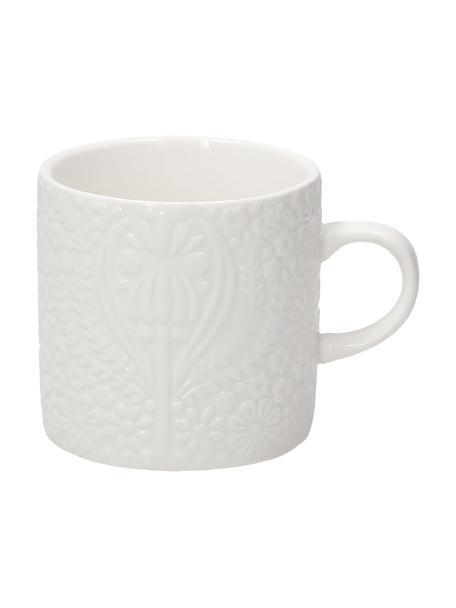Tazza in porcellana con ornamento in rilievo Ornament 2 pz, Porcellana, Bianco, Ø 8 x Alt. 8 cm
