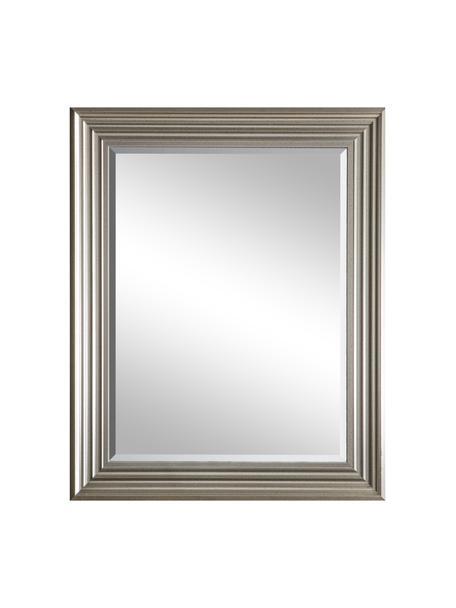 Eckiger Wandspiegel Haylen, Rahmen: Kunststoff, Spiegelfläche: Spiegelglas, Platinfarben, 64 x 79 cm