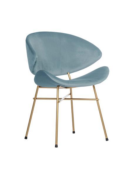 Krzesło tapicerowane z weluru Cheri, Tapicerka: 100% poliester (welur), Stelaż: stal malowana proszkowo, Jasny niebieski, odcienie mosiądzu, S 57 x G 55 cm