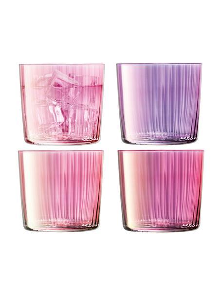 Komplet szklanek ze szkła dmuchanego Gems, 4 elem., Szkło dmuchane, Odcienie różu i fioletu, Ø 8 x W 7 cm