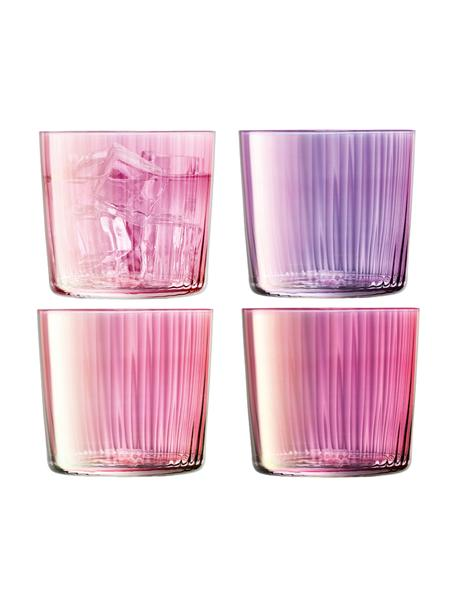 Set 4 bicchieri acqua in vetro soffiato Gems, Vetro soffiato, Tonalità di rosa e viola, Ø 8 x Alt. 7 cm