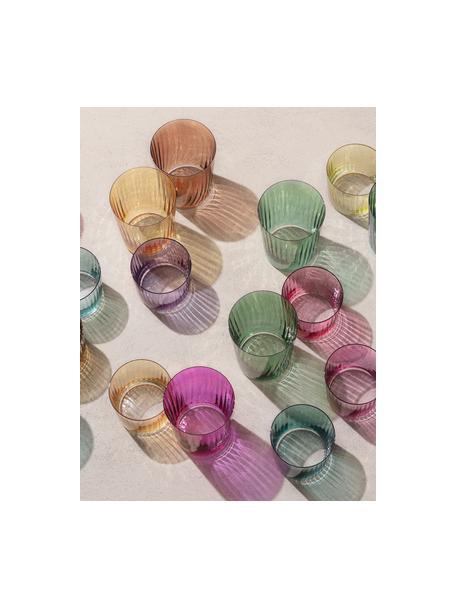 Mondgeblazen waterglazen Gems met groefreliëf, 4-delig, Mondgeblazen glas, Roze- en lilatinten, Ø 8 x H 7 cm