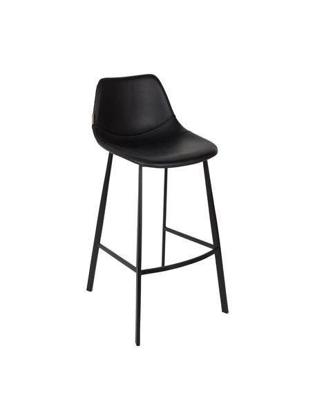 Krzesło barowe ze sztucznej skóry  Franky, Tapicerka: sztuczna skóra (poliureta, Nogi: stal malowana proszkowo, Tapicerka: czarny, celowo postarzany Nogi: czarny, S 50 x W 106 cm