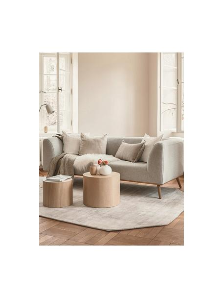 Sofa Archie (3-Sitzer) in Beige mit Eichenholz-Füsse, Bezug: 100% Wolle 30.000 Scheuer, Gestell: Kiefernholz, Webstoff Beige, B 222 x T 90 cm