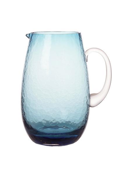 Grosser mundgeblasener Krug Hammered mit gehämmerter Oberfläche, 2 L, Glas, mundgeblasen, Blau, transparent, Ø 14 x H 22 cm