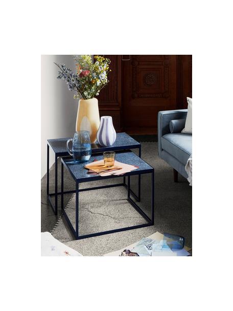 Brocca in vetro soffiato con supertifice martellata Hammered, 2 L, Vetro soffiato, Blu trasparente, Ø 14 x Alt. 22 cm