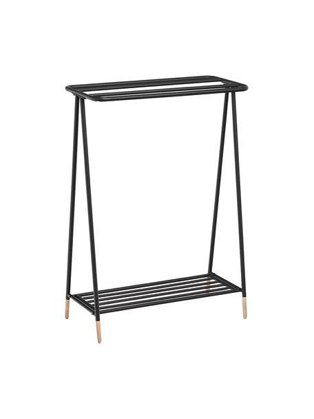 Toallero de metal Mella, Estructura: metal recubierto, Patas: madera de caucho, Negro, An 60 x Al 85 cm