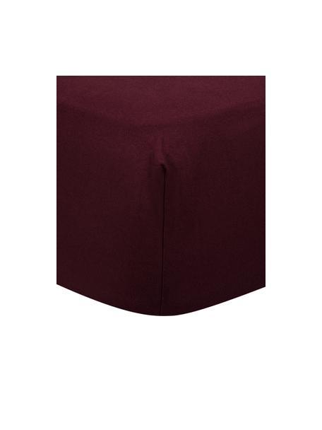 Lenzuolo con angoli in flanella rosso scuro Biba, Tessuto: flanella, Rosso scuro, 90 x 200 cm