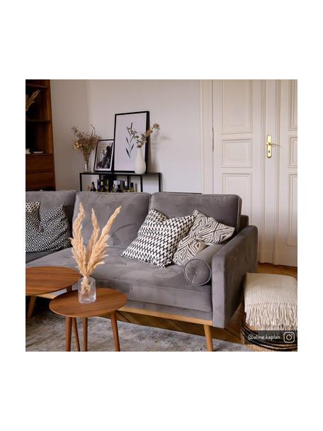 Divano angolare 3 posti in velluto grigio Saint, Rivestimento: velluto (poliestere) Con , Struttura: legno di quercia massicci, Velluto grigio, Larg. 243 x Prof. 220 cm