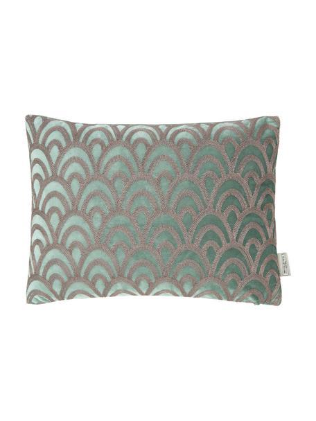 Fluwelen kussen Trole met glanzende borduurwerk, met vulling, 100% fluweel (polyester), Groen, zilverkleurig, 40 x 55 cm