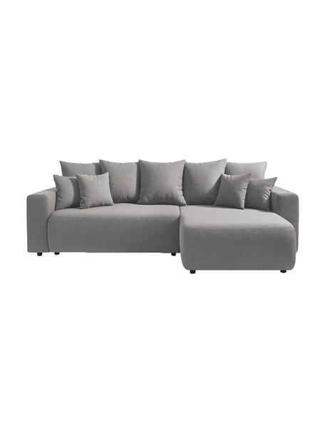 Sofá cama rinconero Elvi, con espacio de almacenamiento, Tapizado: poliéster con revestimien, Patas: plástico, Gris claro, An 282 x F 153 cm