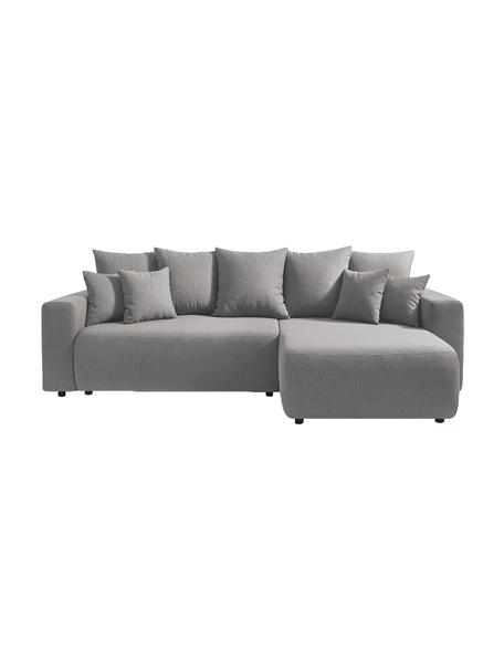 Sofá cama rinconero modular Elvi, con espacio de almacenamiento, Tapizado: poliéster, Patas: plástico, Gris claro, An 282 x F 153 cm