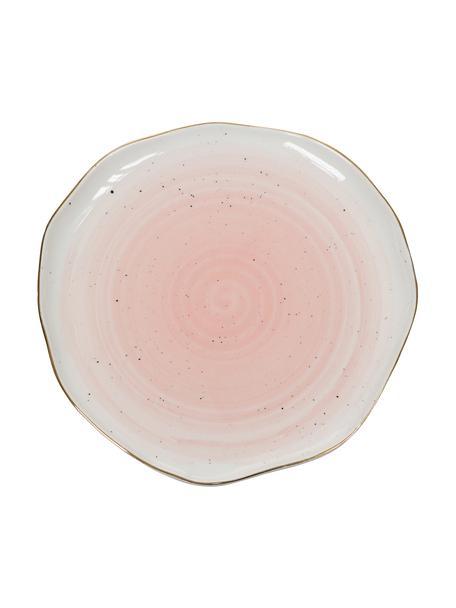 Handgemaakte ontbijtborden Bella met goudkleurige rand, 2 stuks, Porselein, Roze, Ø 19 x H 3 cm