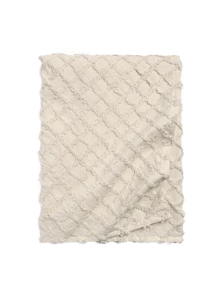 Copriletto in cotone con modello a rilievo Royal, Cotone, Bianco crema, Larg. 180 x Lung. 260 cm