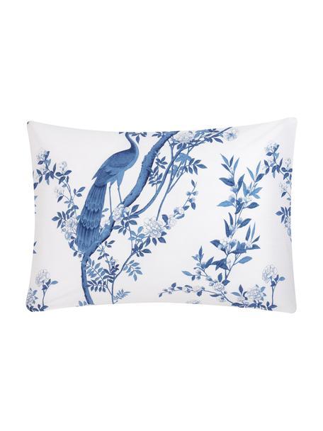 Funda de almohada de percal Annabelle, 50x70cm, Blanco, azul, An 50 x L 70 cm