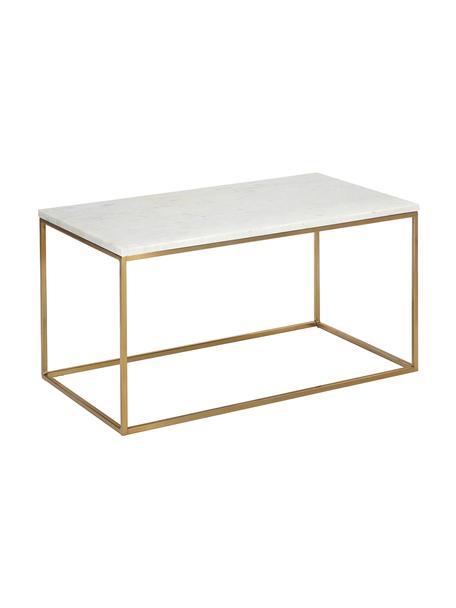Marmor-Couchtisch Alys, Tischplatte: Marmor, Gestell: Metall, pulverbeschichtet, Tischplatte: Weiß-grauer MarmorGestell: Goldfarben, glänzend, 80 x 40 cm