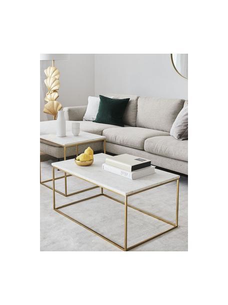 Marmor-Couchtisch Alys, Tischplatte: Marmor, Gestell: Metall, pulverbeschichtet, Weisser Marmor, Goldfarben, 80 x 40 cm