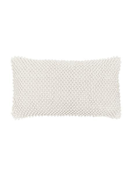 Federa arredo con superfice strutturata in cotone bianco latteo Indi, 100% cotone, Bianco latteo, Larg. 30 x Lung. 50 cm