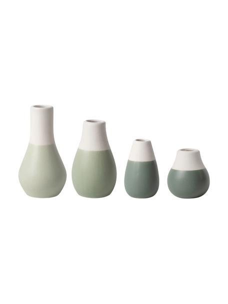 Komplet wazonów z kamionki Pastell, 4 elem., Kamionka z glazurą, Odcienie zielonego, biały, Różne rozmiary