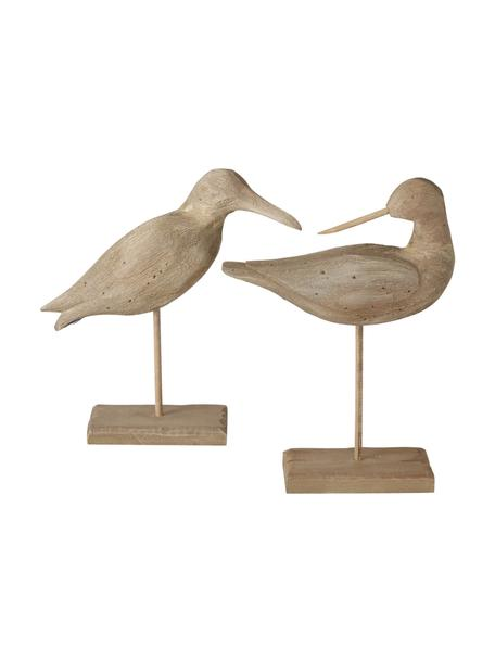 Set 2 oggetti decorativi in legno di Paulownia Belua, Legno di Paulownia, Marrone, Larg. 23 x Alt. 33 cm