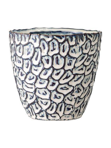 Ręcznie wykonana osłonka na doniczkę z kamionki Bonia, Kamionka, Biały, niebieski, Ø 14 x W 14 cm