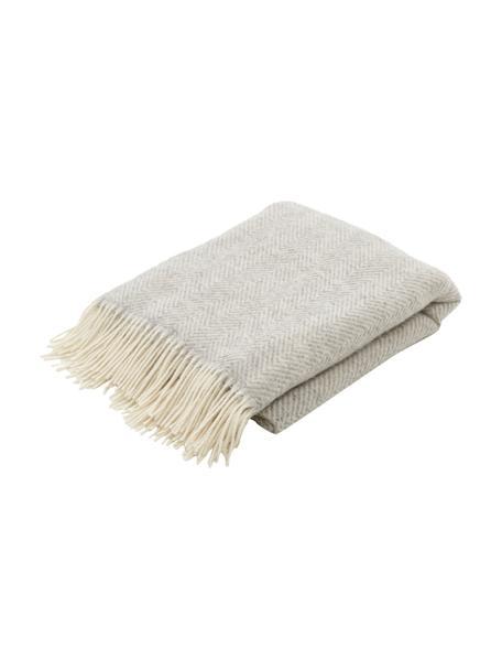 Coperta in lana color grigio chiaro con motivo a spina di pesce e frange Triol-Mona, 100% lana, Grigio chiaro, Larg. 140 x Lung. 200 cm