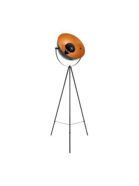 Lampada da terra treppiede color oro-nero Bernice, Paralume: metallo rivestito, Base della lampada: metallo rivestito, Nero, dorato, Larg. 40 x Alt. 150 cm