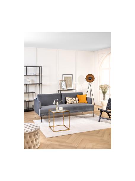 Tripod vloerlamp Bernice in goudkleur-zwart, Lampenkap: gecoat metaal, Lampvoet: gecoat metaal, Frame: zwart gelakt eikenhout. Voet: goudkleurig, Ø 40 x H 150 cm