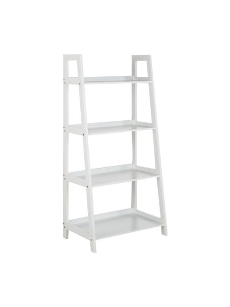 Estantería escalera baja Wally, Tablero de fibras de densidad media(MDF) pintado, Blanco, alto brillo, An 63 x Al 130 cm
