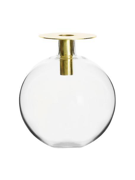 Vaso di design in vetro Aniela, Vaso: vetro, Asta: acciaio inossidabile rive, Ottone trasparente, Ø 14 x Alt. 18 cm