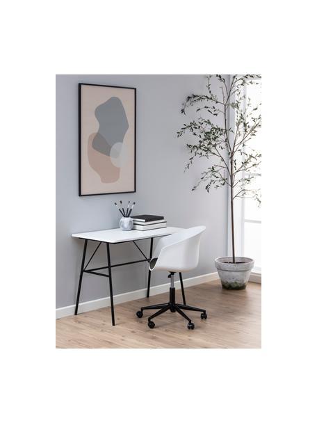 Biurowe krzesło obrotowe Moon, Stelaż: metal malowany proszkowo, Biały, ciemny szary, czarny, S 65 x G 65 cm