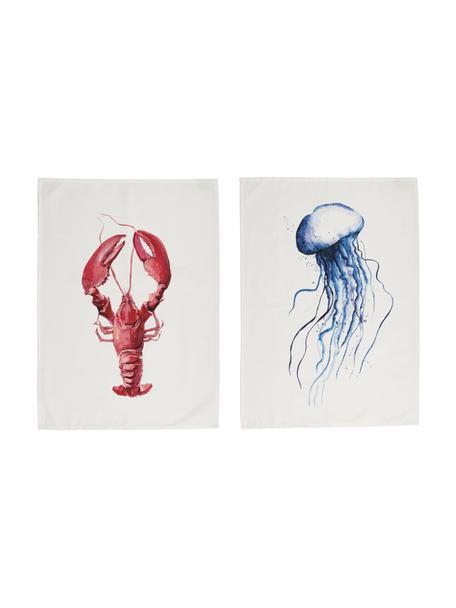 Theedoeken Ocean, 2 stuks, 100% katoen, Wit, rood, blauw, 50 x 70 cm