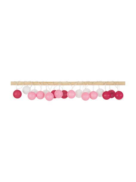 Girlanda świetlna LED Bellin, dł. 320 cm i 20 lampionów, Różowy, ciemny czerwony, biały, D 320 cm