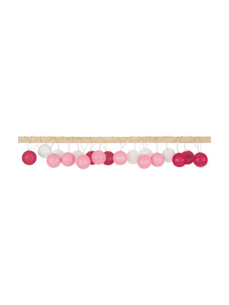 LED lichtslinger Bellin, 320 cm, 20 lampions, Lampions: katoen, Roze, donkerrood, wit, L 320 cm
