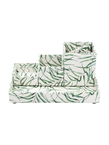 Bureau organizer Leaf, Stevig, gelamineerd karton, Wit, groen, Set met verschillende formaten