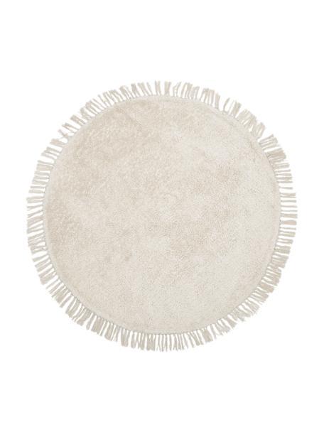 Tappeto rotondo in cotone taftato a mano con frange Daya, 100% cotone, Beige, Ø 110 cm (taglia S)