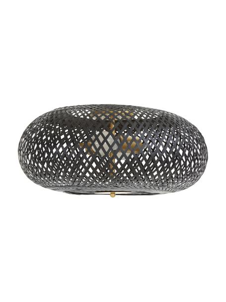 Design Deckenleuchte Evelyn aus Bambus, Lampenschirm: Bambus, Baldachin: Metall, pulverbeschichtet, Dekor: Metall, pulverbeschichtet, Schwarz, Ø 50 x H 20 cm