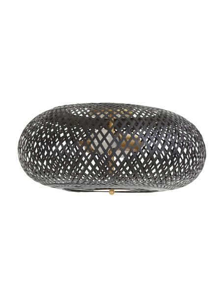 Design plafondlamp Evelyn van bamboehout, Lampenkap: bamboe, Baldakijn: gepoedercoat metaal, Decoratie: gepoedercoat metaal, Zwart, Ø 50  x H 20 cm