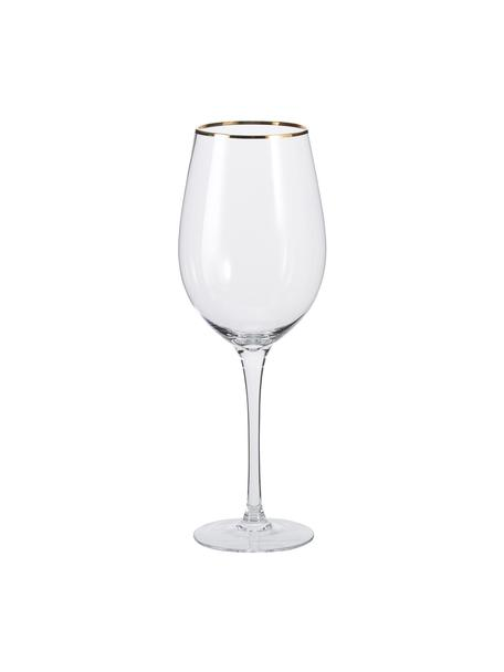 Bicchiere vino trasparente con bordo dorato Chloe 4 pz, Vetro, Trasparente, Ø 9 x Alt. 26 cm