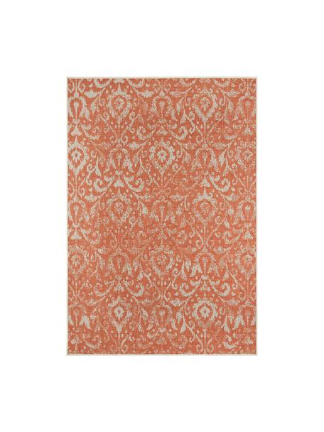 In- & outdoor vloerkleed Hatta in vintage look in oranje/beige, 100% polypropyleen, Oranje rood, beige, B 160 x L 230 cm (maat M)