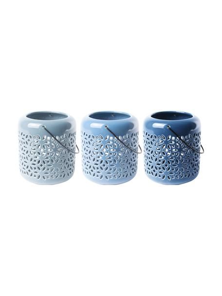 Set de portavelas Shades, 3uds., Portavelas: terracota, Asa: metal, Azul, Ø 12 x Al 14 cm