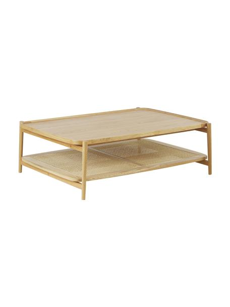 Salontafel Libby van eikenhout met Weens vlechtwerk, Tafelblad: eikenhoutfineer met MDF, Plank: rotan, Frame: massief gelakt eikenhout, Lichtbruin, beige, 110 x 35 cm