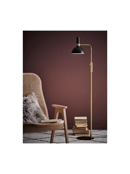 Dimbare leeslamp Larry van metaal, Lampenkap: gelakt messing, Frame: messing, Lampvoet: gelakt messing, Zwart, messingkleurig, 33 x 146 cm