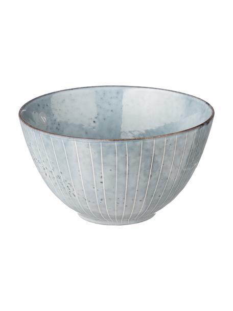 Boles artesanales Nordic Sea, 4uds., Gres, Tonos de gris y azul, Ø 15 x Al 8 cm