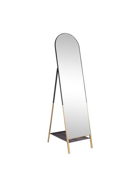 Vloerspiegel Reflix met zwarte metalen lijst en plank, Frame: gecoat metaal, Zwart, goudkleurig, 42 x 170 cm
