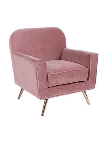 Poltrona in velluto rosa Lydia, Rivestimento: velluto di poliestere, Gambe: metallo rivestito, Rosa, Larg. 80 x Prof. 75 cm