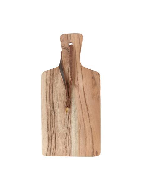 Akazienholz-Schneidebrett Acacia mit Lederband, verschiedene Größen, Schlaufe: Leder, Akazienholz, 15 x 30 cm