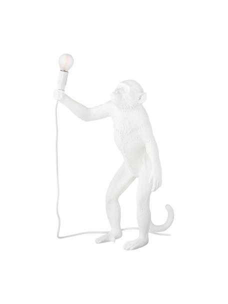 Lámpara de mesa grande de diseño Monkey, Lámpara: resina, Cable: plástico, Blanco, An 46 x Al 54